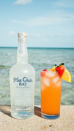 BEACH CHAIR COCKTAIL // 2 oz. Blue Chair Bay Vanilla Rum + 2 oz. pineapple juice + 2 oz. ginger beer + .5 oz. grenadine // Pour all ingredients over ice. Add a little fruit salad on top if you wanna feel healthy.