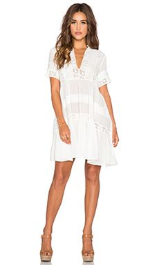 Spell & The Gypsy Collective Peasant Girl Throw On Mini Dress in White