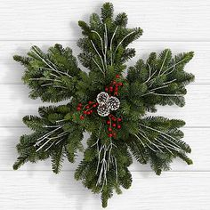Search for 24 evergreen snowflake wreath Christmas Door Decorations, Christmas Centerpieces, Diy Christmas Ornaments, Christmas Holidays, Christmas Wreaths, Holiday Decor, Christmas Morning, Snowflake Centerpieces, Snowflake Wreath