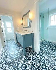 Tiles For Sale, Florida Home, Beautiful Bathrooms, House Design, Cement Tiles, Wall Tiles, Interior Design, Blue Tiles, Floors