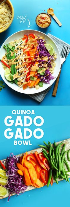 A modern take on a classic Indonesian dish called Gado-Gado! Quinoa replaces rice for added protein, fresh and steamed veggies add plenty of nutrition and fiber, and it's all topped with a spicy, 2-minute peanut sauce!