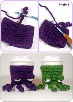 Free Pattern Grumpy Octopus Coffee Cup Cozy - 13 Free Patterns for DIY Crochet… Crochet Coffee Cozy, Crochet Cozy, Crochet Gifts, Crochet Yarn, Yarn Projects, Knitting Projects, Crochet Projects, Knitting Patterns, Crochet Patterns