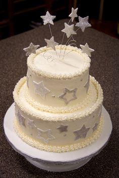 New Years Cake- put clock face on top with stars coming out of it and on side in silver and gold....would look really pretty!