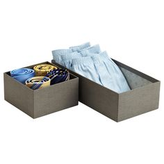 The Container Store > Grey Marten Drawer Organizers Clothes Drawer Organization, Closet Organizer With Drawers, Closet Storage, Storage Drawers, Home Organization, Organizing Ideas, Grey Drawers, Space Saving Hangers, Men Closet