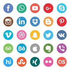 Cores botões sociais definir Vetor grátis