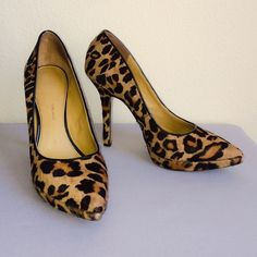 """Leopard Platform Heels Nine West Love Fury. Real leather and fur. 4"""" heels with 1/2"""" platforms. Some wear on the toes as photographed but not visible when worn. More beautiful in person  Fits true to size. Nine West Shoes Heels"""