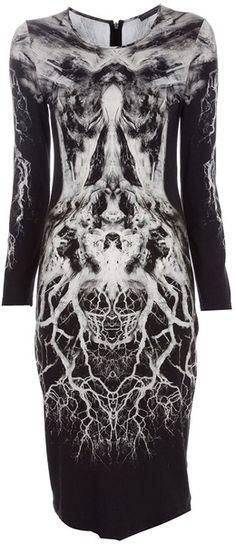 Mirror print dress with vivid abstract print; monochrome fashion // Alexander McQueen