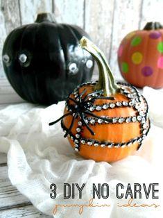 Create fun, no mess, no carve Halloween pumpkins with these 3 DIY No Carve Pumpkin Ideas!