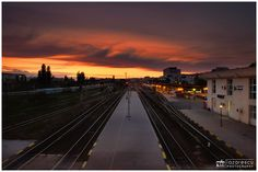 Last moments of the day ... - Sunset view from train station in city of Iasi, Romania.