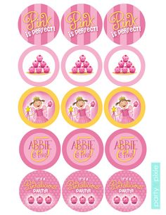 Pinkalicious  Large Circle Stickers  Party by partypixieinvites, $5.00