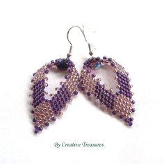 Purple Russian Leaf Earrings