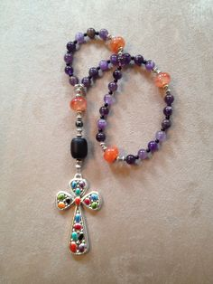 Handmade Anglican-Protestant prayer beads with amethyst beads.