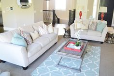 The Family Room - coral and blues