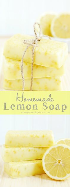 Lemon Soap {Mother s Day Gift Ideas} How to make lemon soap - this homemade lemon soap smells amazing and makes a lovely handmade gift!How to make lemon soap - this homemade lemon soap smells amazing and makes a lovely handmade gift! Homemade Soap Recipes, Homemade Gifts, Homemade Scrub, Homemade Beauty, Diy Beauty, Beauty Care, Lemon Soap, Soap Making Supplies, Lemon Essential Oils