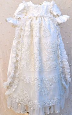 """WILLIAM & KATE by Elena This beautiful Victorian inspired unisex Christening gown includes a BONNET and BLOOMERS. It's made in the European 45"""" long style, with an open back. Handmade by us in the USA"""