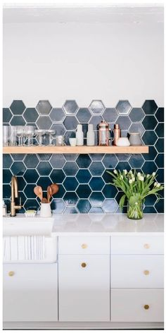 Hexagon Tile Backsplash, Hexagon Tiles, Kitchen Ideas, Home, House, Homes, Houses