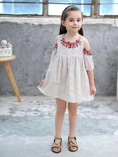 Girls Cold Shoulder Boho Day Dresses