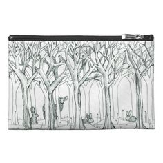Forest Animals Clutch Case Winter Trees Drawing Travel Accessories Bags