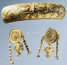 Title: Gold pendant and gold disc earrings, Italy, Goldsmith art, Greek civilization, Magna Graecia, Taranto, Museo Archeologico Nazionale (Archaeological Museum), Credits: DeA Picture Library, licensed by Alinari