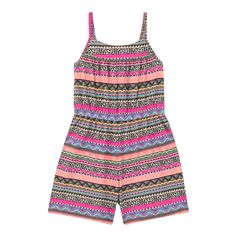 From bluezoo's fantastic range of children's clothing, this playsuit is perfect for creating bright daytime looks during those warmer months. Featuring a colourful Aztec-inspired print, this super-soft cotton rich piece has an elasticated back and waistband for all day comfort.