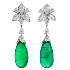 25.21 Carats Oval Cabochon Emeralds Diamonds Gold Earrings  | From a unique collection of vintage drop earrings at https://www.1stdibs.com/jewelry/earrings/drop-earrings/