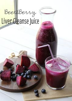 Beet & Berry Liver Cleanse JuiceYields: 4 c. juice 2 medium beets 2 c. blueberries 1 apple 2 large carrots c. raw broccoli 1 whole lemon knob ginger, skin removed c. pure coconut water (wonder if I can reduce/substitute the lemon & ginger? Juice Smoothie, Smoothie Drinks, Detox Drinks, Smoothie Recipes, Juice 2, Cleanse Recipes, Detox Juices, Beet Root Juice, Smoothie Cleanse