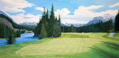 Banff Springs Golf Course Hole 12 by Rod McAuley Oil ~ 12 x 24