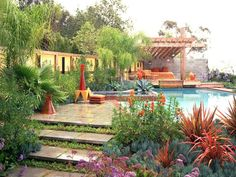 Pictures of Mediterranean-Style Gardens and Landscapes: Texture, vibrancy and geometrics come together to create this cheerful retreat. The plantings vary from spiky to velvety, the hue is bright, sunny and serene, and the architecture blends angles, cones and hard lines.  From DIYnetwork.com