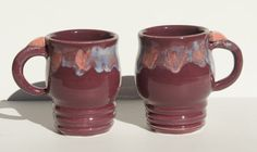Pair Purple Coffee Mugs with heart thumb rests - hand thrown stoneware pottery via Etsy