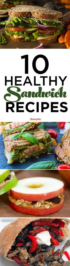 10 Healthy Sandwich Recipes you'll fall in love with!  #cleaneating #lunch #yum