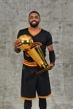 Kyrie Irving of the Cleveland Cavaliers poses for a portrait after winning the NBA Championship against the Golden State Warriors during the 2016 NBA. Irving Nba, Kyrie Irving, Basketball Legends, Duke Basketball, Irving Cavaliers, Cleveland Caveliers, Sports Head, Nba Championships, Nba Stars
