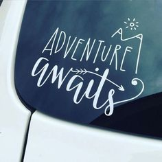 This Adventure Awaits car / laptop decal is a cute and fun way for anyone on the go to show that they loves seeking adventure & traveling! Place it on your car window, laptop, mirror, or any smooth surface of your choosing. Get one for yourself or for a f Jeep Decals, Vinyl Decals, Cute Decals For Cars, Stickers For Cars, Vehicle Decals, Jeep Stickers, Car Window Stickers, Bumper Stickers, Kayak Decals