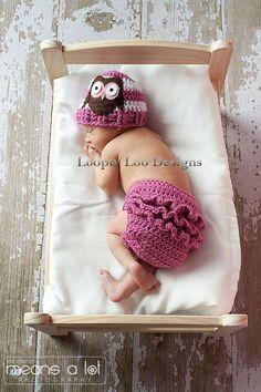 Felt Owl Crochet Hat and Ruffled Diaper Cover by LooptyLooDesigns, $40.00