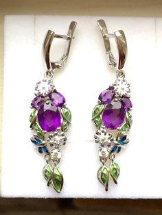 Vintage Edwardian Suffragette Jewellery Downton Abbey Art Nouveau 14k White Gold Vermeil Amethyst CZ Enamel Flower Dropper Earrings by TrulyVenusian on Etsy https://www.etsy.com/listing/248318705/vintage-edwardian-suffragette-jewellery