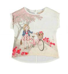 Mayoral Girls Short Sleeved Graphic Satin Top – Brands For Kids