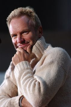 Sting ~ cozy sweater, happy holidays.