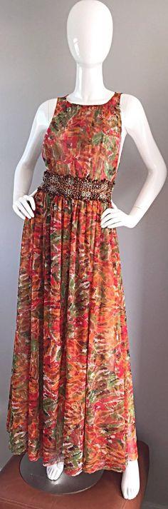 Oscar de la Renta Beautiful Watercolor Bohemian Boho Maxi Dress w/ Wooden Beads  2