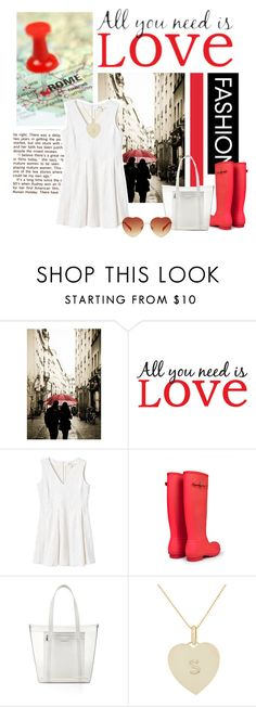 """""""all you need is love (and a nice pair of boots)"""" by cnle ❤ liked on Polyvore featuring WALL, Monki, Hunter, BCBGMAXAZRIA and Jennifer Meyer Jewelry"""