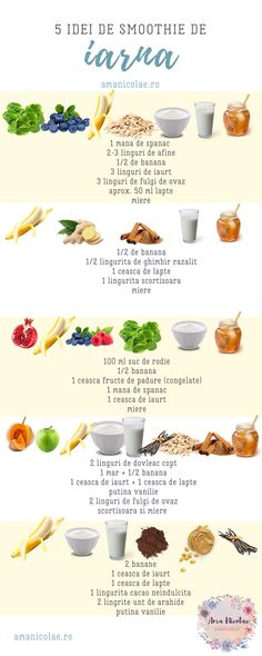 5 idei de smoothie de iarna - Ama Nicolae Smoothies, Food, Recipes, Salads, Smoothie, Essen, Meals, Yemek, Smoothie Packs