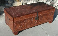 Leather Hand Carved Trunk