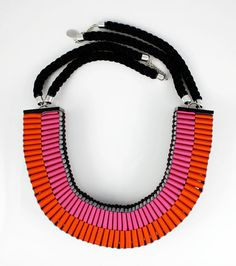 The Clemence woven rope necklace in orange and pink $147.40 from JenniferLoiselle on Etsy