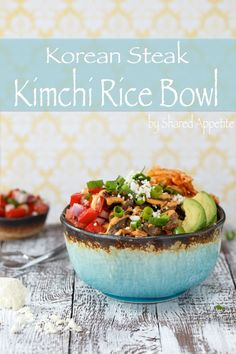 Korean Steak Kimchi Rice Bowl with Kimchi Bacon Fried Rice, Bulgogi, Pico de Gallo, Avocado, and Gochujang Aioli | sharedappetite.com