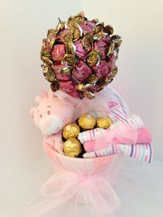 Chocolate Baby Girl Tree Contains Snuggle tedding with teething ring, Hooded Towel, three baby face clothes and chocolates
