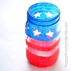 DIY Painted Patriotic Mason Jar Luminary