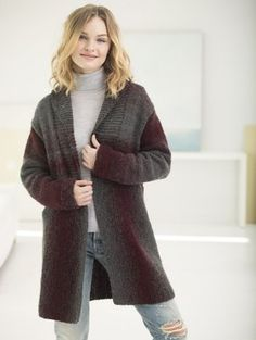 Knit this cozy cardigan with Lion Brand Scarfie! Free pattern calls for 5 - 7 balls of yarn (pictured in oxford/claret) and size 9 36-inch circular knitting needles.