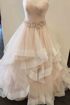 Champagne sweetheart tulle long prom dress, evening dress