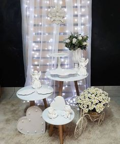 How to Make Wedding Decorations on a Budget - Sheer Curtain Backdrop with String Lights Baptism Party Decorations, First Communion Decorations, First Communion Party, Fiesta Decorations, Wedding Decorations On A Budget, Table Decorations, Baptism Desserts, Baby Baptism, Spring Home Decor