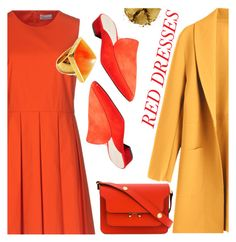 """Red dress"" by supra-118 ❤ liked on Polyvore featuring RED Valentino, Cole Haan, Marni, Kenneth Jay Lane, Pat McGrath, look, coat and zaful"
