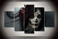 Skull Face-Woman-Canvas Print