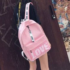 """HOT PRICES FROM ALI - Buy """"pink print letter School Backpack Women School bag Back Pack Leisure Korean Ladies Knapsack Laptop Travel Bags for Teenage Girls"""" from category """"Luggage & Bags"""" for only USD. Bags For Teens, School Bags For Girls, Girls Bags, Cute Backpacks For School, Girl Backpacks, Backpack Bags, Leather Backpack, Travel Backpack, Fashion Bags"""